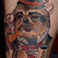 Old style colored gentleman like smoking sloth tattoo on leg