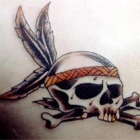 Oldschool tattoo with skull and bones