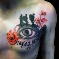 Original colorful memorial military tattoo with eye and flowers tattoo on chest