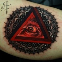 Original combined and colored arm tattoo of triangle with human eye and ornamental flower