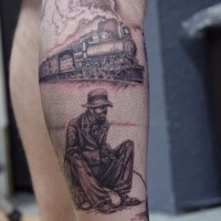 Tatuaggio originale a gamba colorata combinato di treno a vapore e pagliaccio triste