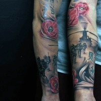 Original combined colored military tattoo on sleeve with flowers
