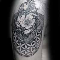 Original combined dotwork style upper arm tattoo of realistic flower combined with geometrical figure