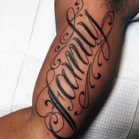 Original design lettering family tattoo on biceps