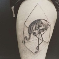 Original designed and detailed black and white thigh tattoo of flamingo in geometric figure