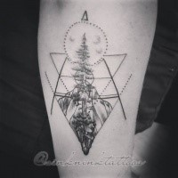 Original designed black ink arm tattoo of big tree with geometrical figures