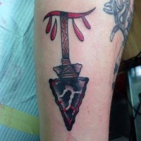 Original designed colored ancient arrow tattoo on arm