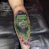 Original designed colored bloody Hulk zombie tattoo on leg with crossed bones
