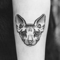 Original idea Sphinx cat's head detailed forearm tattoo