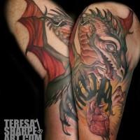 Original multicolored fantasy dragon tattoo on shoulder with heart