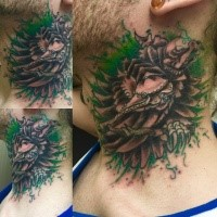 Original painted and colored throat tattoo of bird with plague doctor mask