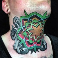 Original painted colored Celtic style tattoo on neck