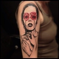 Original sketch style shoulder tattoo of woman portrait with red flowers