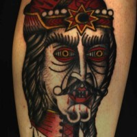 Original style painted big bloody vampire head colored tattoo on leg