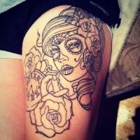 origginale incompiuto inchiostro nero Messicano tradizionale tatuaggio su coscia