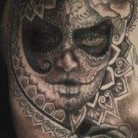 Patchwork day of the dead with roses tattoo