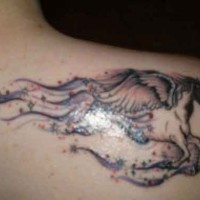 Pegasus and starry trace tattoo on shoulder blade