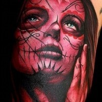Pensive santa muerte girl tattoo in red colors