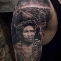 Philippines themed black and white tattoo