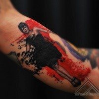 Photoshop style colored biceps tattoo of sexy woman
