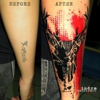 Photoshop style colored forearm tattoo of deer with red line