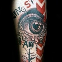 Photoshop style colored forearm tattoo of human eye with lettering and spider