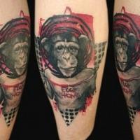 Photoshop Stil lustiger Affe mit Schriftzug farbiges Tattoo