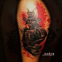Photoshop style colored leg tattoo fo samurai warrior