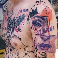 Photoshop style colored shoulder tattoo of various symbols lettering and butterfly