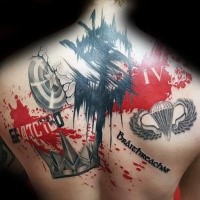 Photoshop style colored upper back tattoo of lettering with various pictures