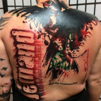Photoshop style colored whole back tattoo of big bird with lettering