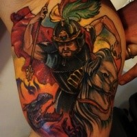 Picture like colored biceps tattoo of Asian warrior with dragon