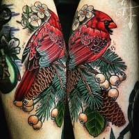 Picture like colored leg tattoo of beautiful bird with berries