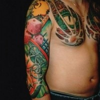 Picture style colored sleeve and chest tattoo of dragon with dice