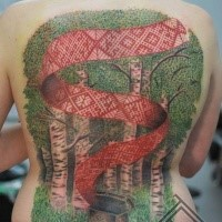 Picture style colored whole back tattoo if deep forest with red ribbon