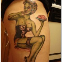 Pin up girl zombi tattoo on thigh