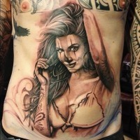 Pin up santa muerte girl tattoo by Antonio Macko Todisco