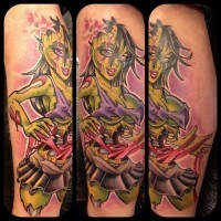pin up ragazza zombi tatuaggio da Mat Lapping