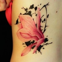 Pink colored back tattoo of sweet flower