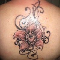 Pink orchid and patterns tattoo on back