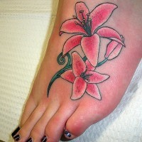 Pink sexy foot lily tattoo