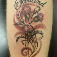 Pink thistles with patterns lettering scotland tattoo