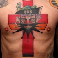 Pirate cross tattoo on  chest by jimmy duvall