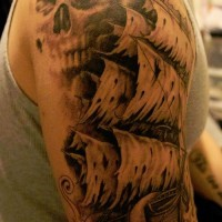 Pirate ghost ship and skull tattoo