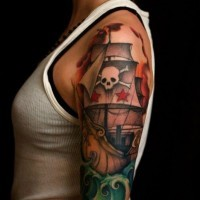 Pirate ship classic tattoo on arm