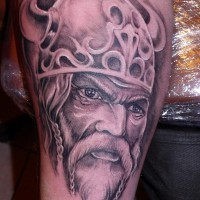 Portrait of a viking in horned helmet tattoo by fpista