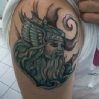 Portrait of viking tattoo on half sleeve