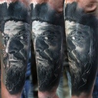 Portrait style colored arm tattoo of very detailed old pirate