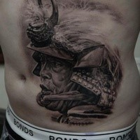 Portrait style colored belly tattoo of old Samurai with helmet