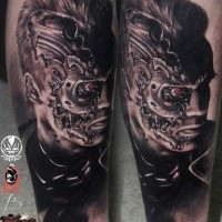 Cartoon style black ink leg tattoo of small dancing for Terminator face tattoo